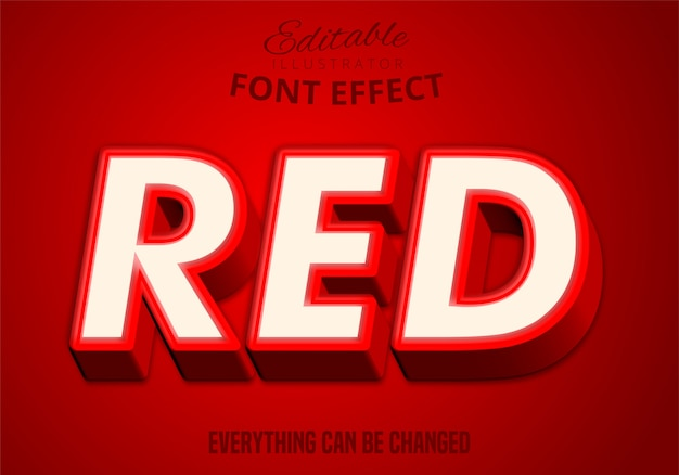 Texto em vermelho, efeito de texto editável
