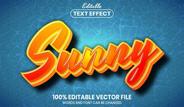 Texto ensolarado, efeito de texto editável de estilo de fonte