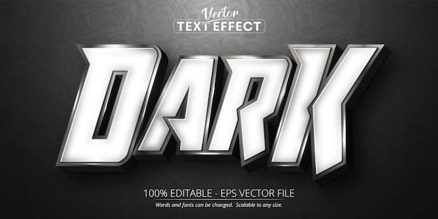 Texto escuro, efeito de texto editável de estilo prata brilhante