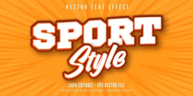 Texto estilo esporte, efeito de texto editável estilo pop art