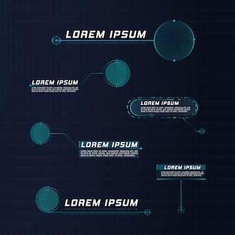 Texto explicativo do líder de estilo futurista hud. modelos digitais modernos aplicáveis ao layout do quadro. chamadas de informação e setas. a interface dos elementos do conjunto gráfico.