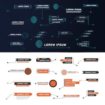 Texto explicativo do líder do estilo futurista hud. modelos digitais modernos aplicáveis ao layout de quadros. chamadas de informação e setas. a interface dos elementos do conjunto gráfico.