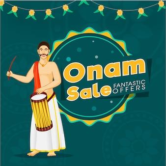 Texto fantástico das ofertas da venda de onam com o cilindro batendo do homem indiano sul em teal blue background para o conceito de propaganda.