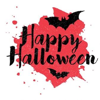 Texto feliz do dia das bruxas no vermelho respingos de sangue
