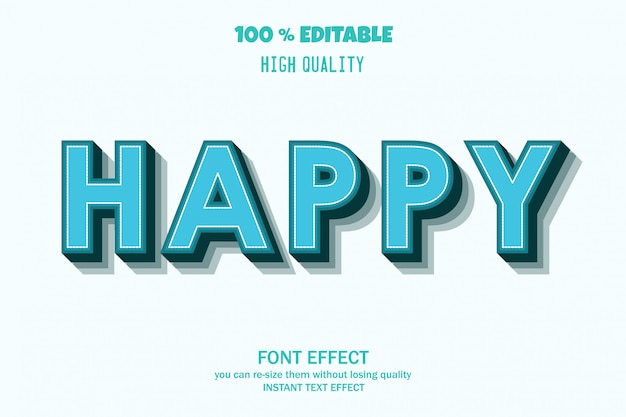 Texto feliz, efeito de fonte editável