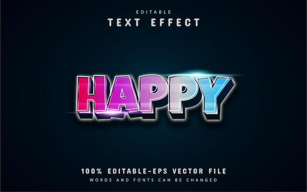 Texto feliz, efeito de texto colorido estilo gradiente