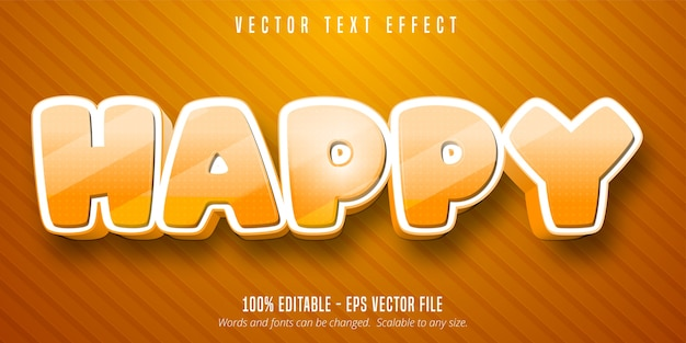 Texto feliz, efeito de texto editável estilo desenho animado