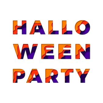 Texto 'festa de halloween' com camadas de corte de papel efeito 3d em um fundo branco