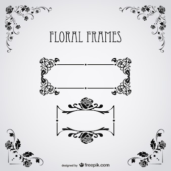 Texto floral quadros de vetor livre