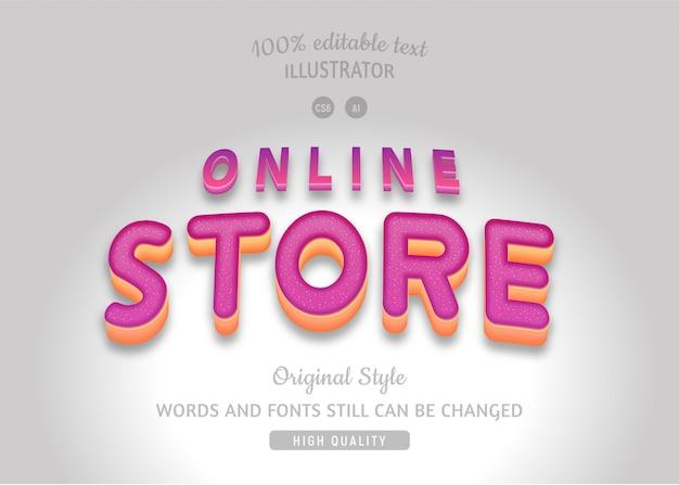 Texto fúcsia da loja online.
