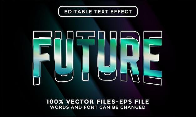 Texto futuro. vetor premium de efeito de texto editável