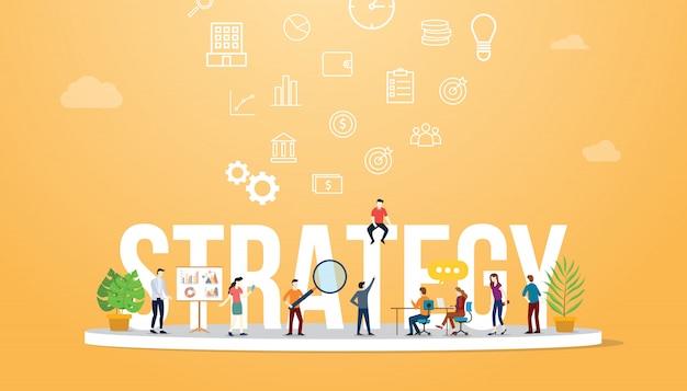 Texto grande do conceito da estratégia empresarial com equipe dos povos