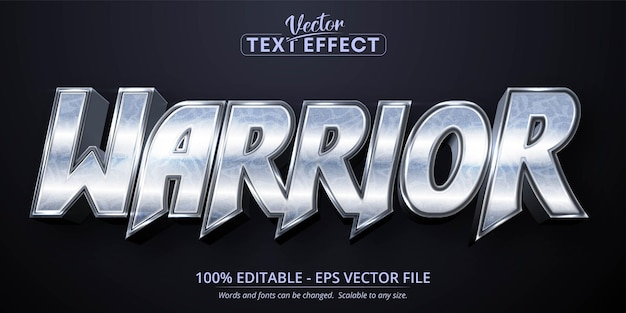 Texto guerreiro, efeito de texto editável estilo prata brilhante
