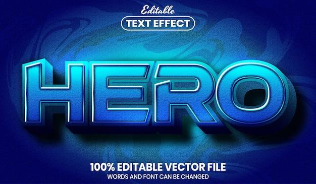 Texto hero, efeito de texto editável de estilo de fonte