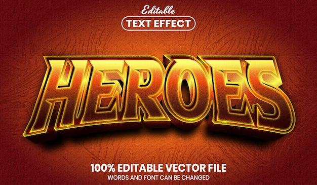Texto heroes, efeito de texto editável de estilo de fonte