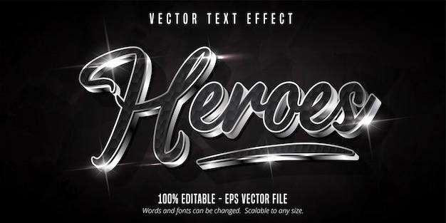 Texto heroes, efeito de texto editável estilo prata brilhante