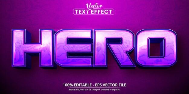 Texto herói, efeito de texto editável no estilo desenho animado