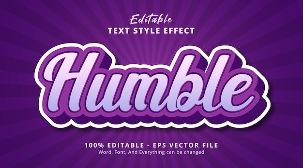 Texto humilde na combinação roxa efeito de texto, efeito de texto editável
