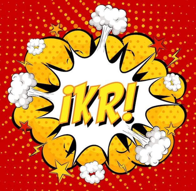Texto ikr sobre explosão de nuvem em quadrinhos em fundo vermelho