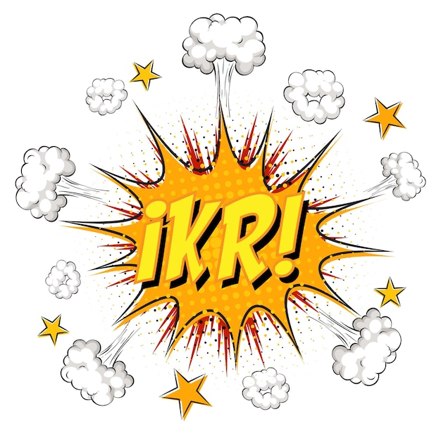 Texto ikr sobre explosão de nuvem em quadrinhos isolada no fundo branco
