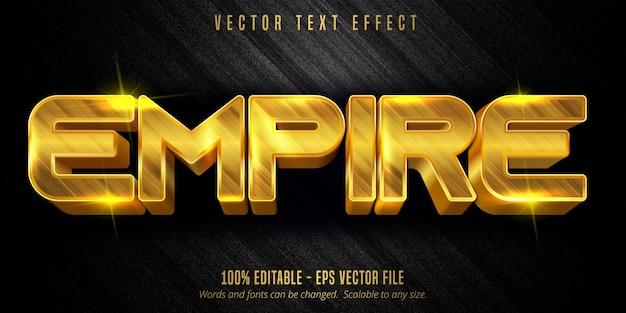 Texto império, efeito de texto editável de luxo em cor dourada em plano de fundo texturizado