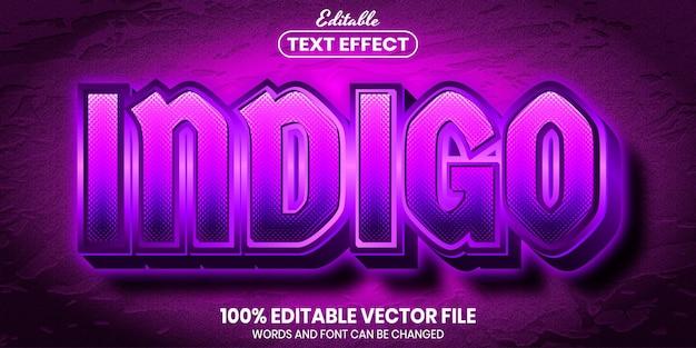 Texto índigo, efeito de texto editável de estilo de fonte