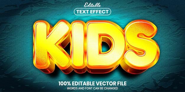 Texto infantil, efeito de texto editável de estilo de fonte