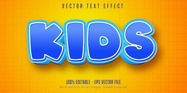 Texto infantil, efeito de texto editável estilo desenho animado
