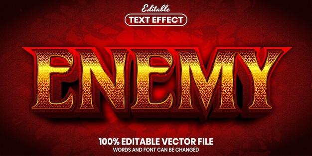 Texto inimigo, efeito de texto editável de estilo de fonte