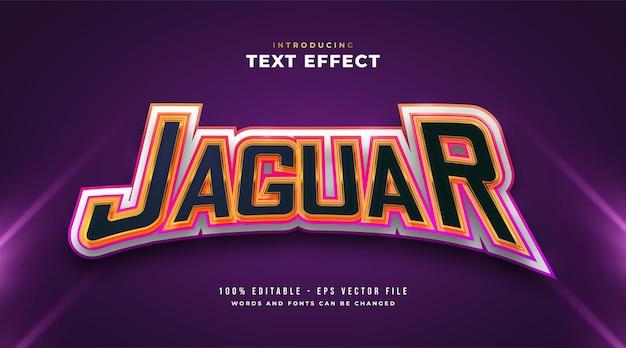 Texto jaguar colorido com efeito de estilo e-sport. efeito de estilo de texto editável