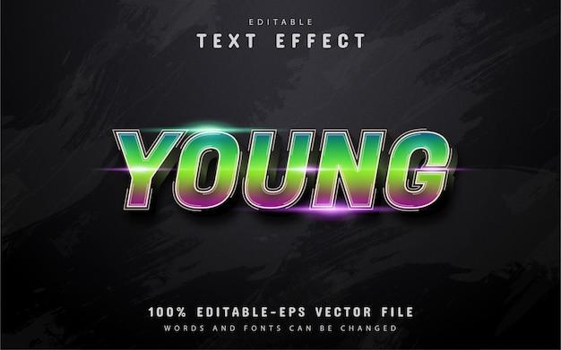 Texto jovem, efeito de texto gradiente editável