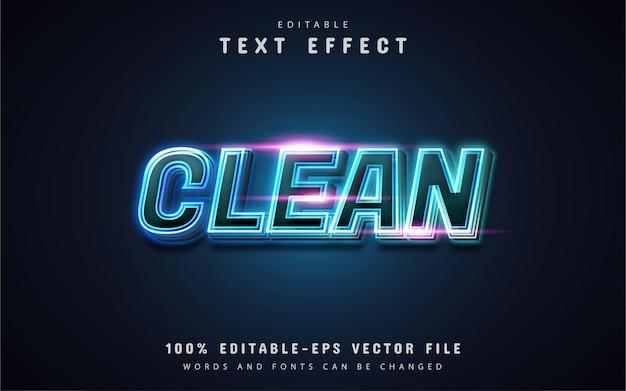 Texto limpo, efeito de texto estilo neon azul