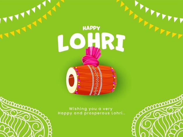 Texto lohri feliz com instrumento dhol, turbante e bandeiras