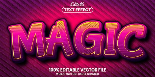 Texto mágico, efeito de texto editável de estilo de fonte