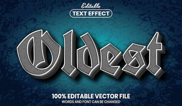 Texto mais antigo, efeito de texto editável de estilo de fonte