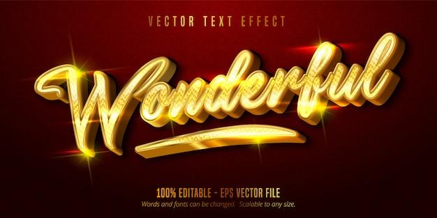 Texto maravilhoso, efeito de texto editável estilo dourado brilhante