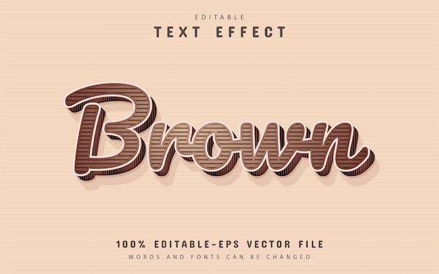 Texto marrom, efeito de texto 3d editável
