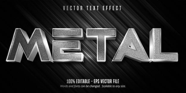 Texto metálico, efeito de texto editável de estilo metálico de cor prata