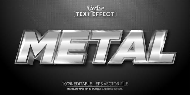 Texto metálico, efeito de texto editável de estilo prata brilhante