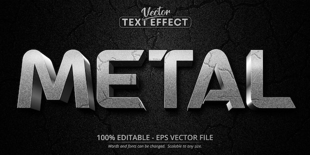 Texto metálico, efeito de texto editável de estilo prateado texturizado