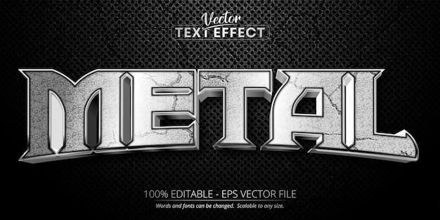 Texto metálico, efeito de texto editável estilo prata brilhante em fundo preto texturizado