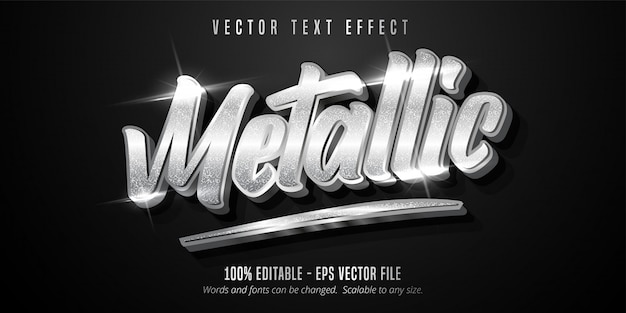 Texto metálico, efeito de texto editável estilo prata brilhante