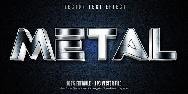 Texto metálico, efeito de texto editável estilo prateado na tela
