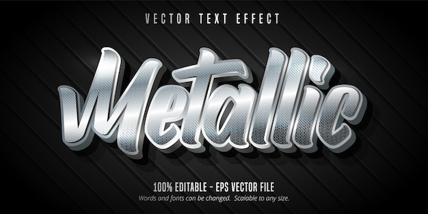 Texto metálico, efeito de texto editável estilo prateado