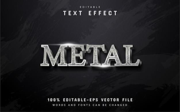 Texto metálico, efeito de texto prateado