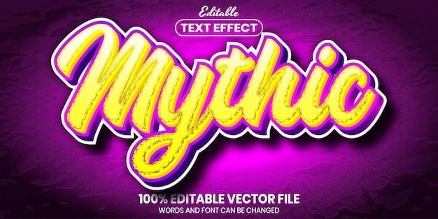 Texto mítico, efeito de texto editável de estilo de fonte