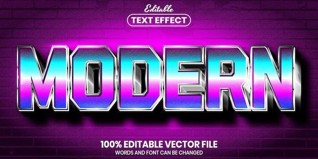 Texto moderno, efeito de texto editável de estilo de fonte