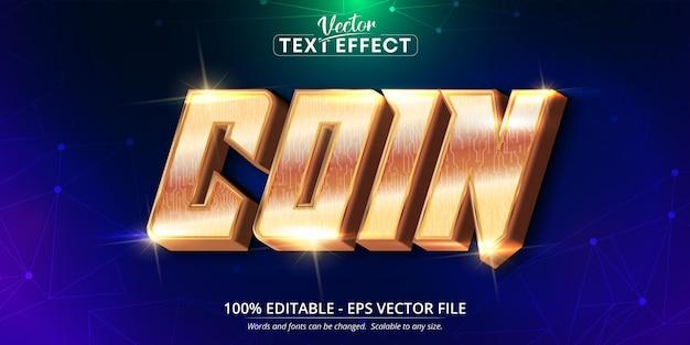 Texto moeda, efeito de texto editável estilo ouro brilhante