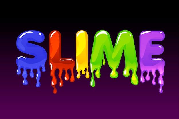 Texto multicolorido de limo em fundo escuro para banner. logotipo de ilustração vetorial e uma substância viscosa e pegajosa para jogos de interface do usuário.