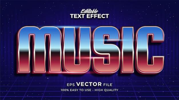 Texto musical em gradiente colorido com efeito brilhante e estilo futurista Vetor Premium